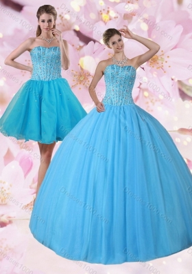 Gorgeous Detachable Baby Blue Strapless Sweet Sixteen Dress with Beading