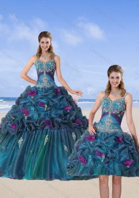 Multi Color 2015 Sweet Sixteen Dresses with Hand Made Flower and Pick Ups