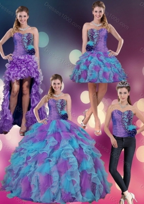 Multi Color Strapless Sweet Sixteen Dress with Beading and Ruffles