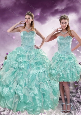 2015 Fashionable Beading and Ruffles Aqual Blue Sweet Sixteen Dresses