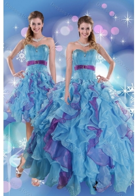 2015 Pretty Multi Color Sweet Sixteen Dresses with Ruffles and Beading