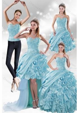 2015 Unique and Detachable Custom Made Aqua Blue Quiceanera Dresses in Taffeta