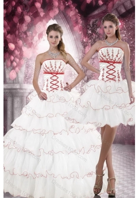2015 Unique and Detachable Customer Made White Quince Dresses with Appliques and Ruffled Layers