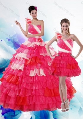 2015 Unique  and Detachable Multi Color Quince Dresses with Ruffled Layers and Beading