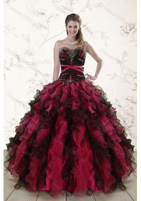 2015 Unique and Detachable Multi Color Quince Dresses with Ruffles and Beading