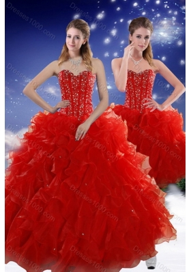 2015 Unique and Detachable Red Sweet 15 Dresses with Beading and Ruffles
