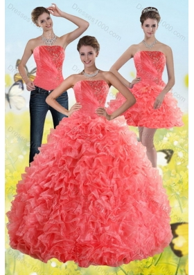 2015 Unique and Detachable Watermelon Sweet 15 Dresses with Beading and Ruffles