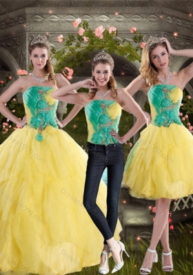 2015 Unique and Detachable Yellow and Green Quince Dresses with Ruching