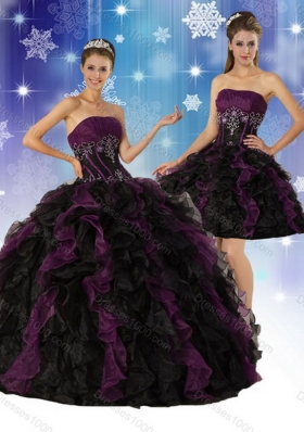 2015 Unique Elegant Strapless Multi Color Quinceanera Dress with Ruffles and Embroidery