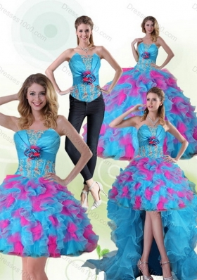 Beautiful Strapless Appliques and Ruffles Multi Color Quinceanera Dress