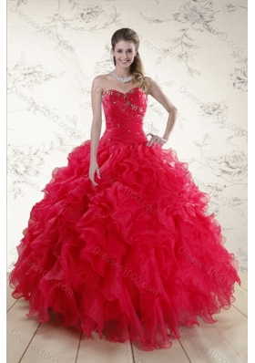 Classical Red 2015 Sweet Sixteen Dresses with Ruffles and Beading