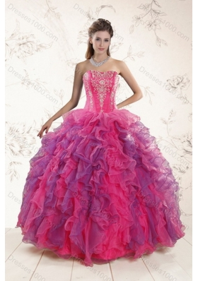 Fashionable Multi Color Ruffles and Appliques Sweet Sixteen Dresses