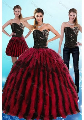 Unique and Detachable Multi Color Sweetheart Sweet 16 Dresses with Ruffles and Beading