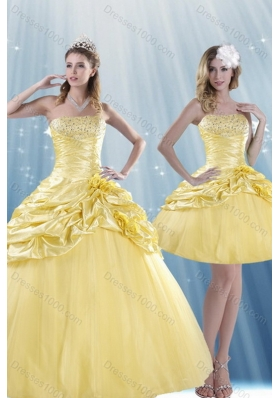 Unique and Detachable Strapless 2015 Beading Quince Dresses with Beadings and Pick Ups