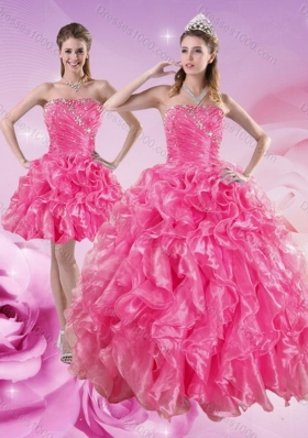 Unique and Detachable Sturning Hot Pink Quince Dresses with Beading and Ruffles for 2015
