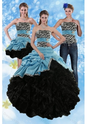 Unique and Detachable Zebra Print Strapless Multi Color Quinceanera Dresses with Ruffles and Pick Ups