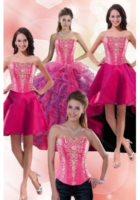 2015 Beautiful Multi Color Sweet 16 Dresses with Appliques and Ruffles