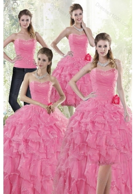 2015 Pretty Baby Pink Quince Dresses with Beading and Ruffles
