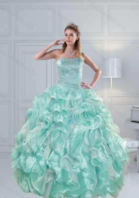 2015 Unique and Detachable Luxurious Strapless Beading Quinceanera Dresses in Aqual Blue