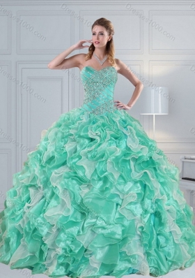 Apple Green Sweetheart 2015 Quinceanera Dresses with Ruffles and Beading