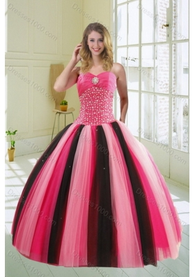 Beautiful Unique and Detachable Multi Color Sweetheart Beading Quince Dress for 2015