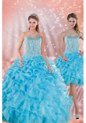 Brand New Baby Blue Quince Dresses with Beading and Ruffles