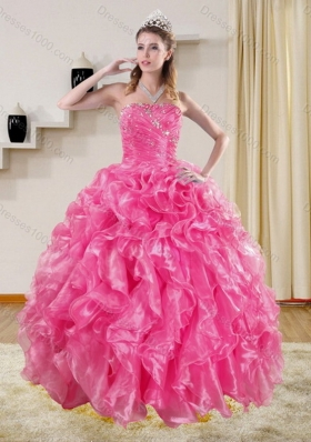 Gorgeous Hot Pink Quinceanera Dresses with Beading and Ruffles for 2015
