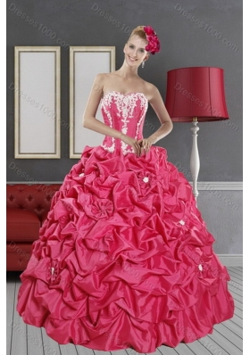 Inexpensive Hot Pink Dresses for Quince with Pick Ups and Appliques