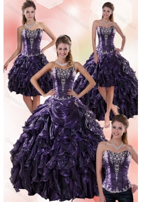 Luxurious Sweetheart Ball Gown Purple Quince Dresses with Embroidery