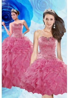 Unique and Detachable Luxurious Coral Red Quince Dresses with Beading and Ruffles