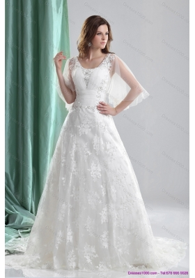 2015 New Style A Line Wedding Dress with Beading and Lace
