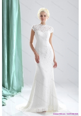 2015 New Style High Neck Wedding Dresses with Lace