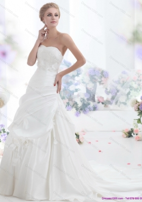2015 New Style Strapless Wedding Dress with Lace and Ruching