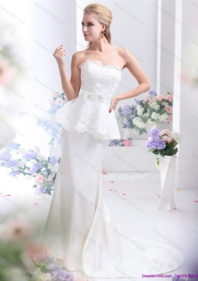 2015 New Style Sweetheart Wedding Dress with Lace and Bowknot