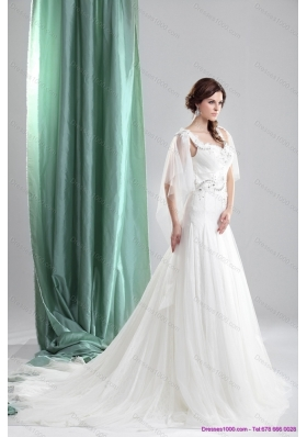 2015 Perfect Straps Wedding Dress with Beading