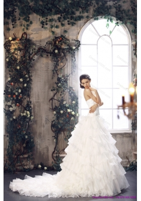 New Style 2015 Strapless Wedding Dress with Beading and Ruffles