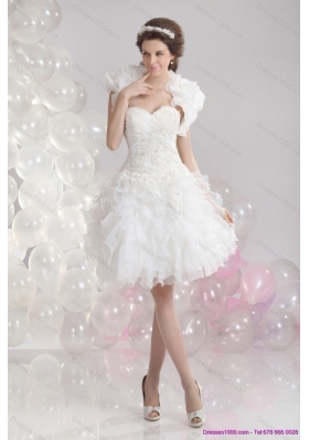 New Style White Sweetheart Wedding Gowns with Ruffles and Sequins