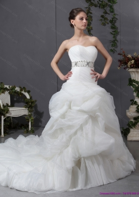 Perfect 2015 Strapless Wedding Dress with Beading and Ruching