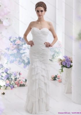 2015 Elegant Sweetheart Wedding Dress with Ruching and Ruffled Layers