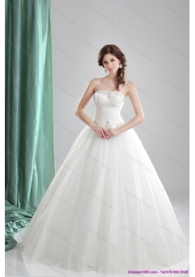 2015 New Style A Line Strapless Wedding Dress with Beading