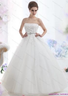2015 New Style Strapless Beading Wedding Dress with Brush Train