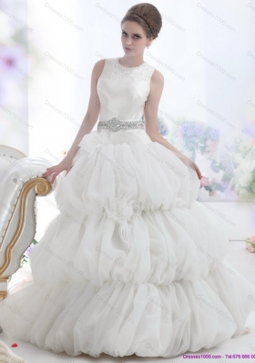 2015 Top Selling Scoop Wedding Dress with Beading