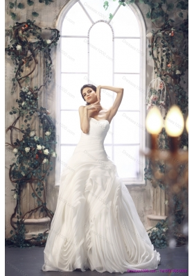 2015 Top Selling White Sweetheart Ruching Wedding Dresses with Brush Train