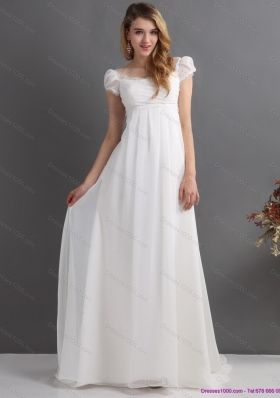 Top Selling 2015 Ruching Square Wedding Dress with Floor Length