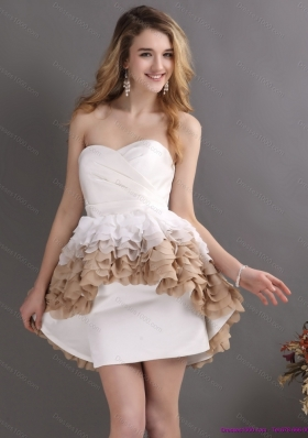 2015 Perfect Pleated Sweetheart WhiteBridal Gowns with Ruffles