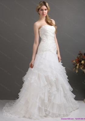 2015 White Strapless Pleated Wedding Dresses with Ruffled Layers