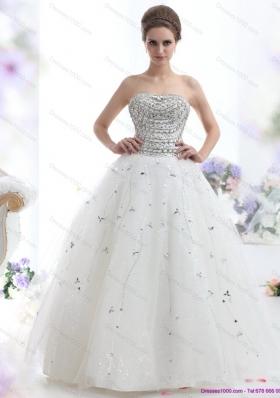Perfect White Strapless 2015 Wedding Dresses with Rhinestones