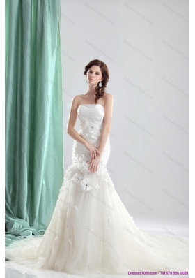 White 2015 Chapel Train Strapless Wedding Dresses with Ruching and Hand Made Flowers