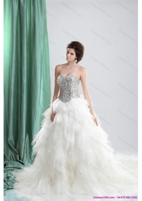 White Sweetheart Rhinestones Wedding Dresses with Chapel Train and Ruffles for 2015