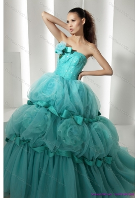 Popular Floor Length 2015 Quinceanera Dresses with Hand Made Flowers and Beading